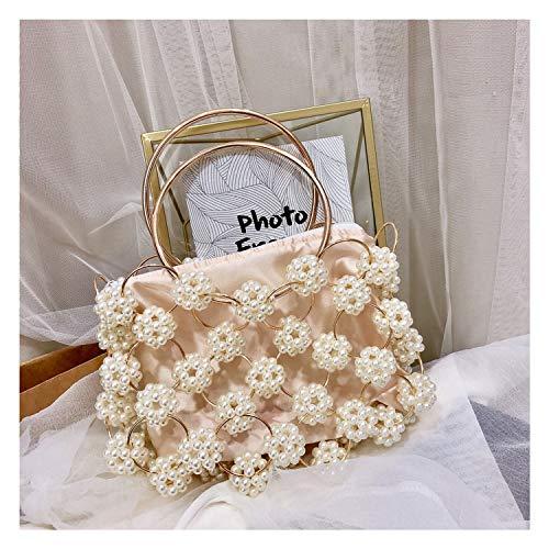 Flower Pearl Women's Handbag Fashion Designer Clutch Evening Bag Beaded Top Handle Tote Basket Cage Shaped