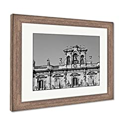 Ashley Framed Prints Salamanca Plaza Mayor, Wall Art Home Decoration, Black/White, 34x40 (Frame Size), Rustic Barn Wood Frame, AG5528359