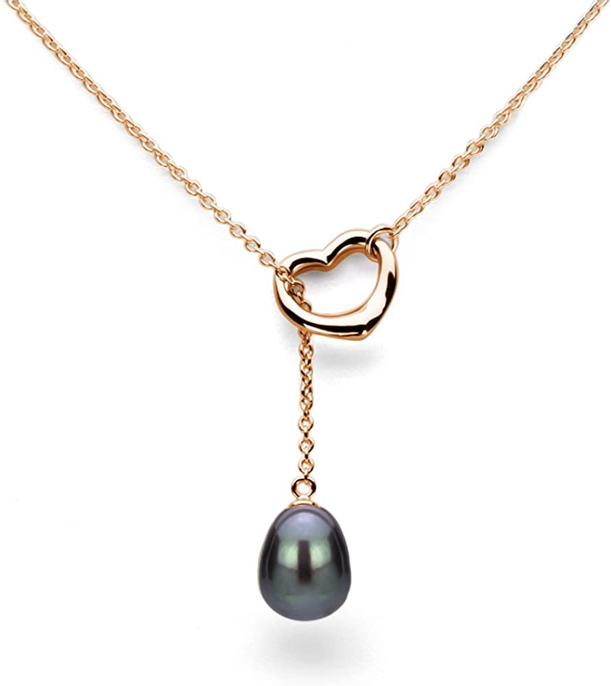 Chain Necklace Cultured Freshwater Pearl Pendant Necklace Jewelry for Women 9x11mm 21 inch