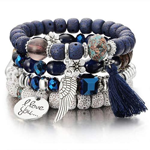 SINOBI 4 Wrap Women Boho Bracelets Multicolor Stretch Beaded Stackable Charm Bangles Natural Gemstone Jewelry for Women -