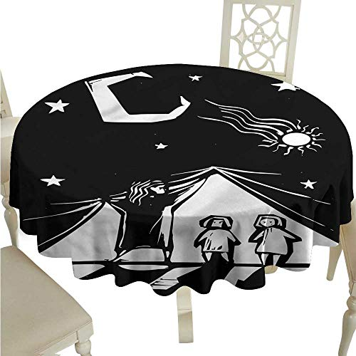 ScottDecor Wrinkle Free Tablecloths Fantasy,Abstract Illustration Circular Table Cover Round Tablecloth D -