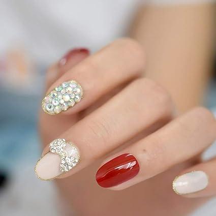 EchiQ - Lazo de uñas postizas en 3D, 24 unidades, color rojo ...