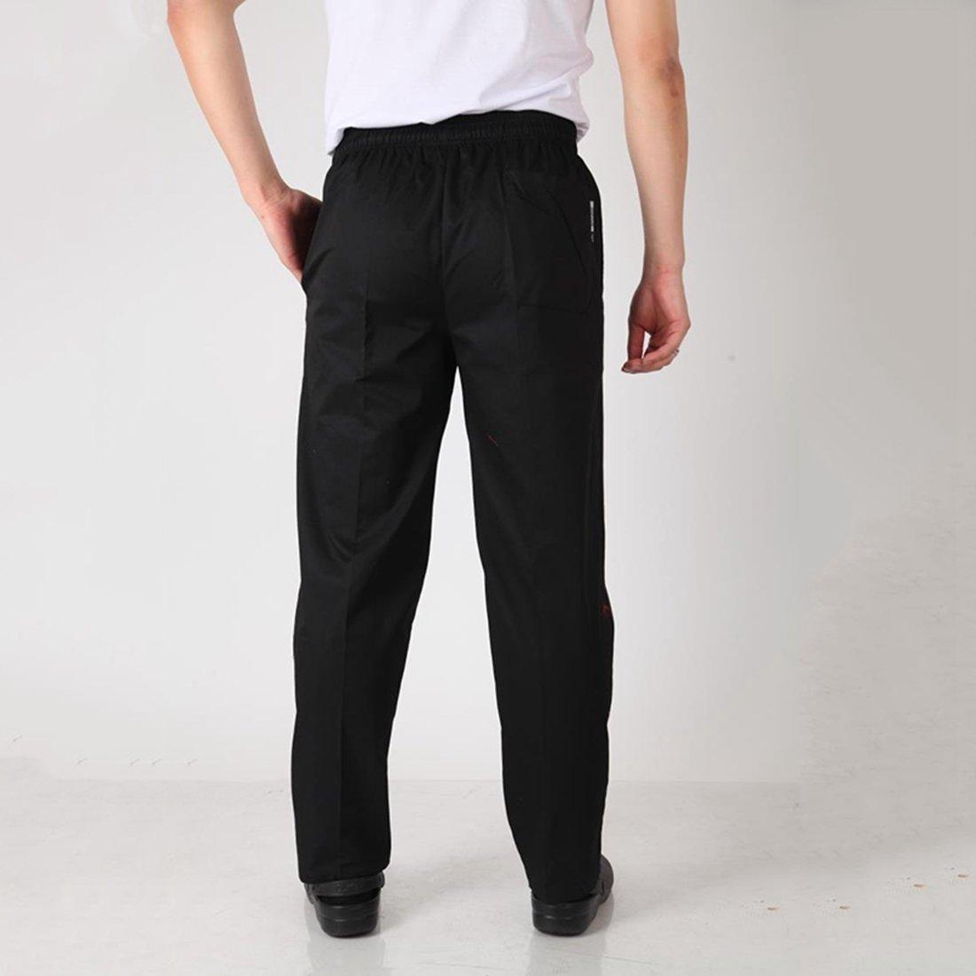 Enerhu Men Elastic Waist Baggy Chef Pants Pockets Hotel/Kitchen/Restaurant/Coffee Uniform Pants Asian M by Enerhu (Image #4)