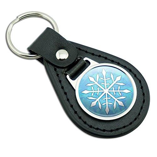 Snowflake Black Leather Metal Keychain Key Ring