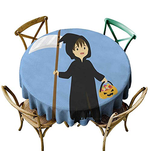 SKDSArts Round Tablecloth Fitted Halloween Grim Reaper Costume Vector D60,Round -