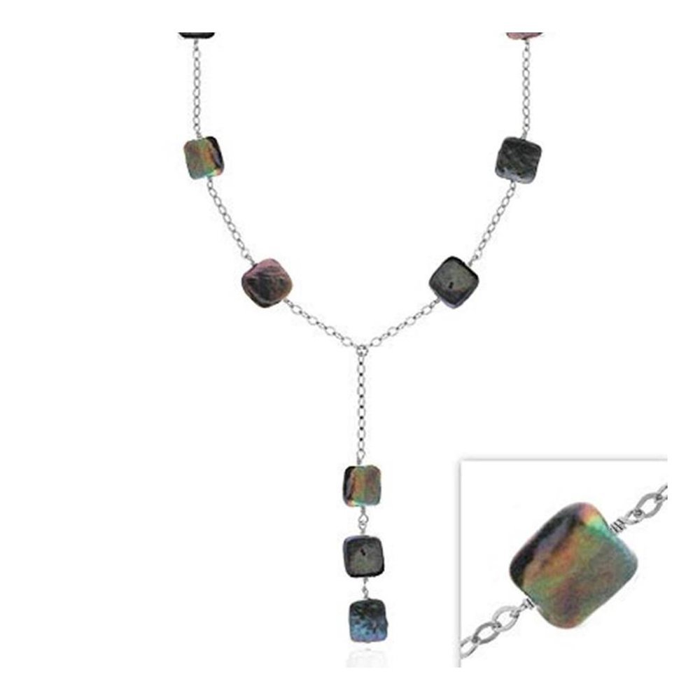 16-19 Glitzs Jewels Sterling Silver Peacock Simulated Freshwater Cultured Square Pearls Y Necklace