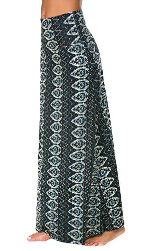 EXCHIC Women's Bohemian Style Print Long Maxi Skirt (L, 2) ()
