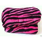 Twin Safari Zebra Black/pink Coral Fleece Mega Throw
