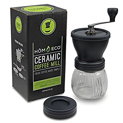 Manual Coffee Grinder By HomEco, Adjustable Ceramic Burr Grinders with Stainless Adjustment Nut from HomEco