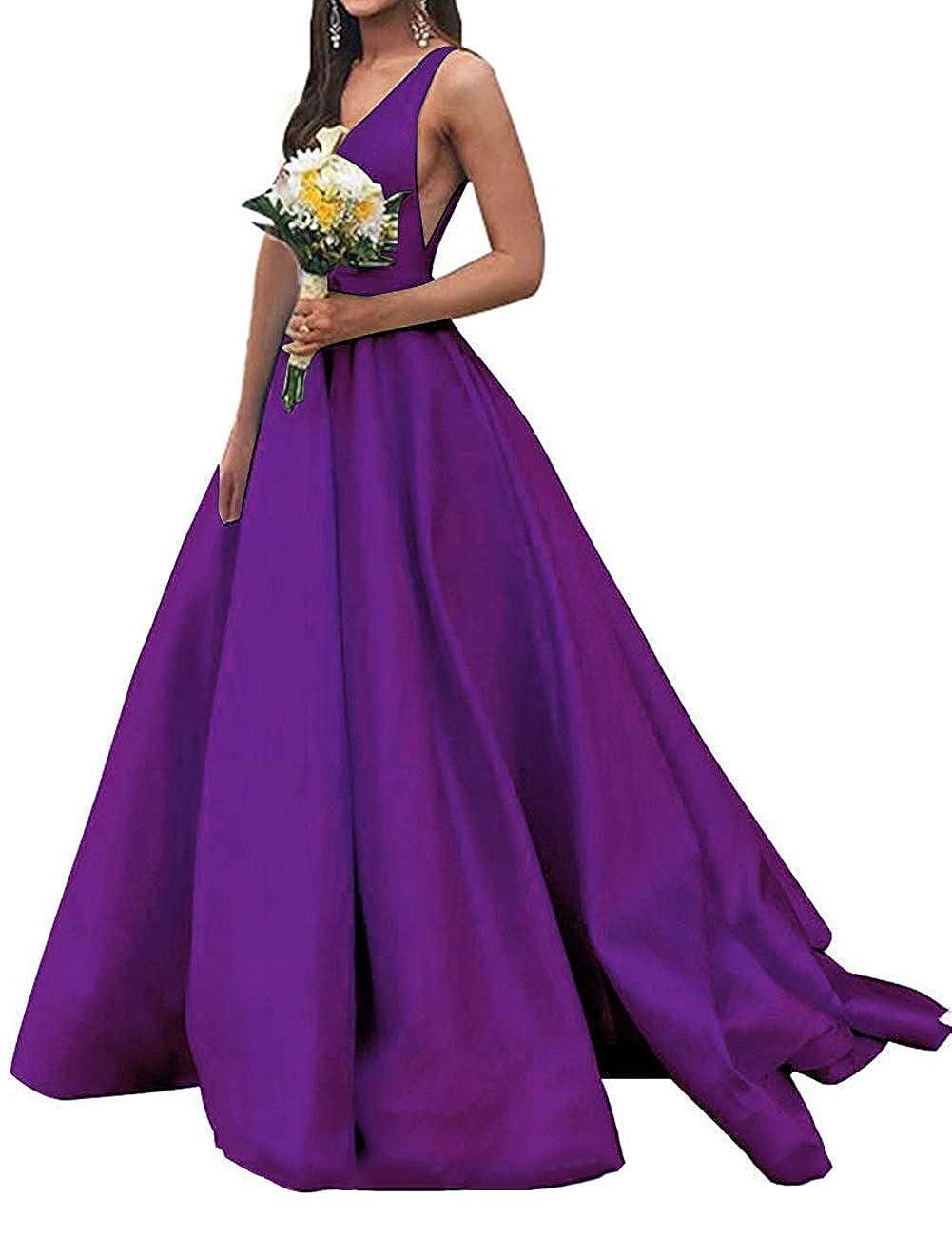 Grape JAEDEN Prom Dresses Formal Evening Gowns Long Evening Dresses V Neck Satin Prom Gowns Sleeveless