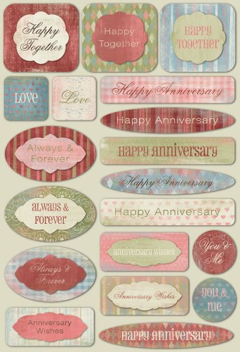 KAREN FOSTER Design Acid and Lignin Free Scrapbooking Sticker Sheet, Happy (Anniversary Scrapbooking)