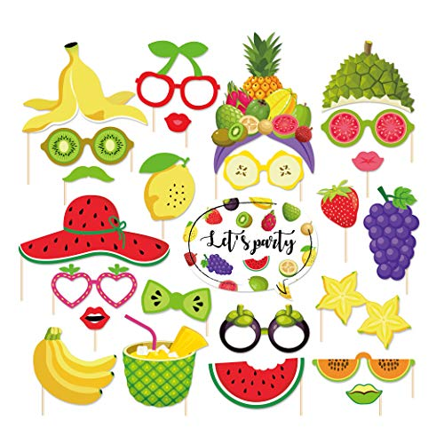 CC HOME 25Ct Summer Party Decoration ,Hawaii Themed Summer Two-tti Frutti Birthday Party Photo Booth Props,Tropical Fruit Party Watermelon and Pineapples Party Decorations,Party Favor for Summer Hawaiian Luau Beach Supplies -