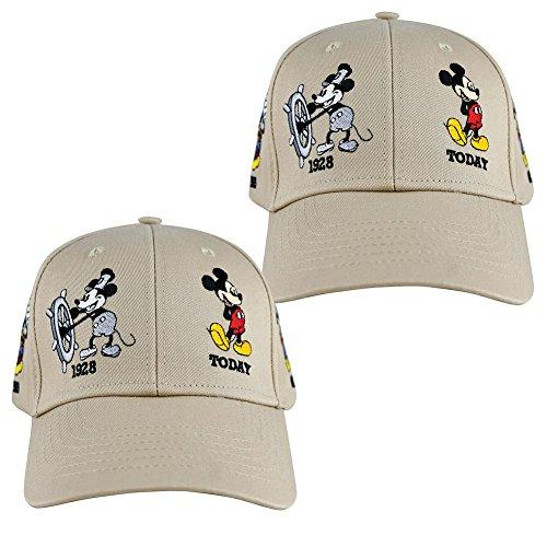 - (Set/2) Mickey Mouse Through The Years Khaki Caps Hook & Loop Adjustment