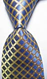 EXT Collectino 100% Silk Necktie, New Classic Checks Blue Gold Tie JACQUARD WOVEN Men's Suits Ties