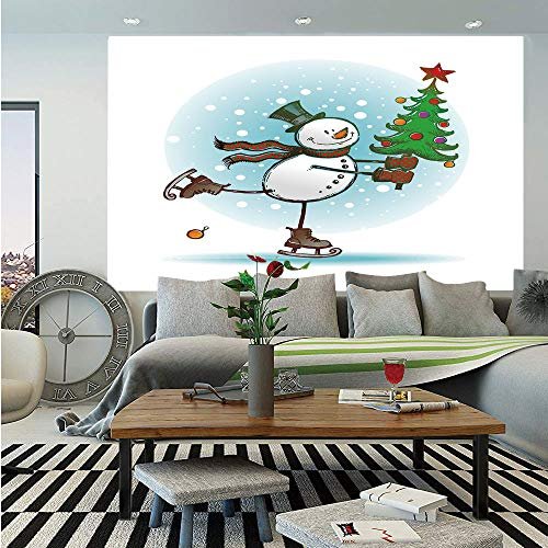 Snowman Huge Photo Wall Mural,Hand Drawn Style Skating Snowman with Christmas Tree and Hat Cold Winter Snowfall Decorative,Self-Adhesive Large Wallpaper for Home Decor 100x144 inches,Multicolor