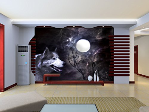 3D Fantasy Forest Wolf 85 Wall Paper Wall Print Decal Wall Deco Indoor wall Murals Removable Wall Mural | Self-adhesive Large Wallpaper , AJ WALLPAPER Carly ()