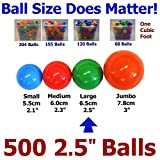 My Balls Pack of 500 Large 65mm 2.5'' Pit Balls - True-to-size; Bright Colors; BPA Free; Phthalate Free; non-PVC; non-Recycled Plastic