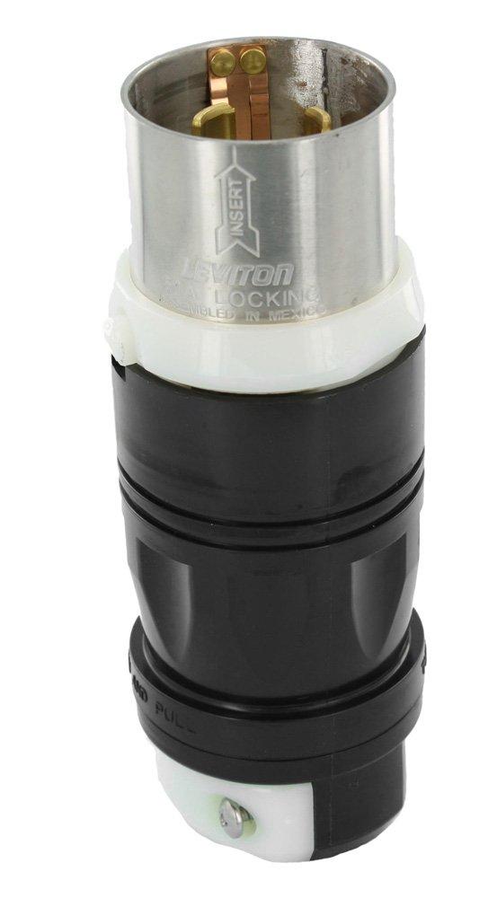 Leviton 3765C 50Amp, 250V DC/600V AC, Non-NEMA, 3P, 4W, Black & White Locking Plug, Industrial Grade, Grounding – Black-White