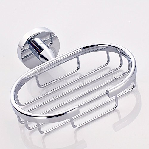 Stainless Steel Soap Basket Wall Mount Oval Bathroom Toiletries Soap Holder With Concealed Screws Modern Style Chrome Finished