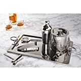 Miko Bar Set, Stainless Steel Deluxe 6 Piece Bar Set (Hammered Steel)