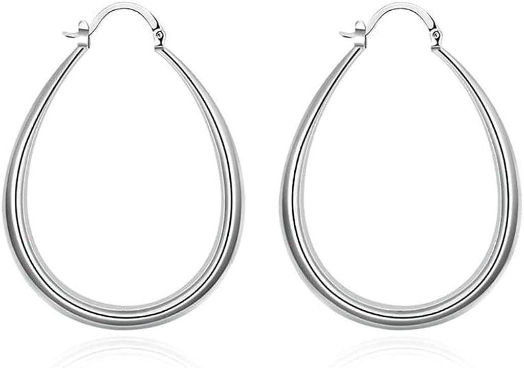 KNSAM - Pendientes Plata Mujer U Diseño Cristal Bañado con Plata 925 Aretes para Novias