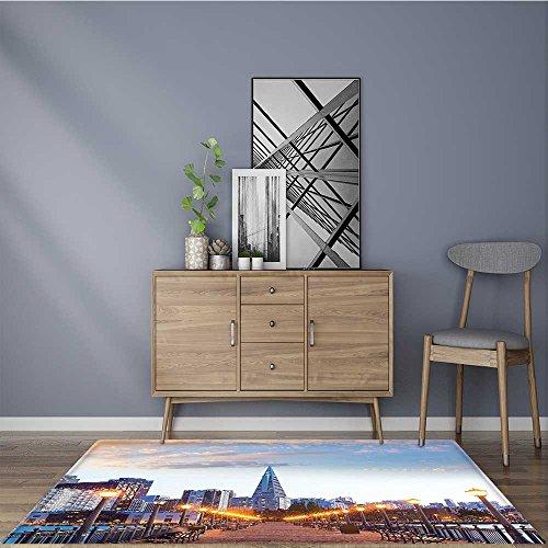 Thick Soft Plush Living Room Rug San Francisco Pier in California Bridge Landmark Evening graphy Blue Gray Stain Resistant Carpet W35.5 x L47 (Lifestyle California Living Room Table)