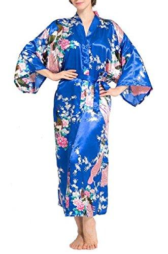 g Floral Peacock Kimono Robe Satin Nightwear with Pockets Large Diamond Blue ()