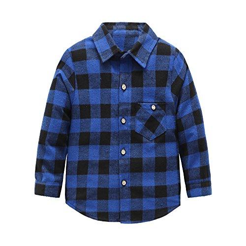 Grandwish Kids Long Sleeve Boys Plaid Flannel Shirt 2T-12