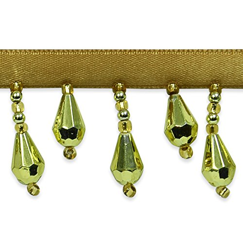 (Expo International Joanne Beaded Teardrop Fringe Trim Embellishment, 10-Yard, Gold)