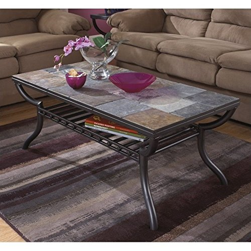 Ashley Furniture Signature Design - Antigo Coffee Table - Slate Top with  Metal Bottom - Cocktail Height - Contemporary - Black - Ashley Furniture Coffee Tables: Amazon.com