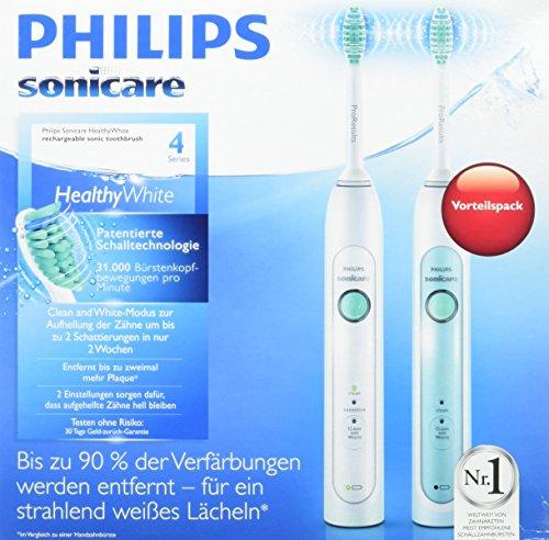 Philips Sonicare HX6730/33 HealthyWhiteElektrische Zahnbürste mit Schalltechnologie, weiß, Doppelpack