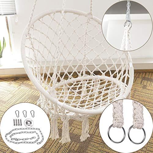 BEAMNOVA 265 lbs Capacity Hammock Chair with Hanging Hardware for Indoor Outdoor Beige