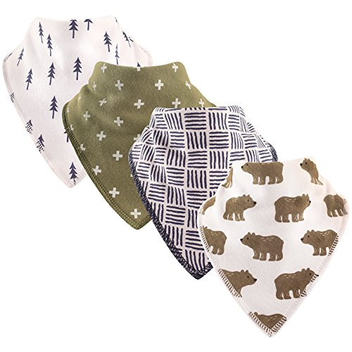 Hudson Baby Baby Pleated Bandana Bib with Soft Fleece Backing, Bears 4 Pack, One Size