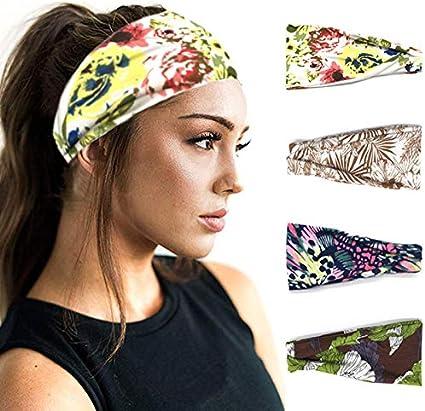 IYOU Diademas de Boho Envolturas de cabeza de flor Diadema de yoga Bandas anchas de algodón Pañuelo elástico en la cabeza para mujeres y niñas (paquete de 4): Amazon.es: Belleza