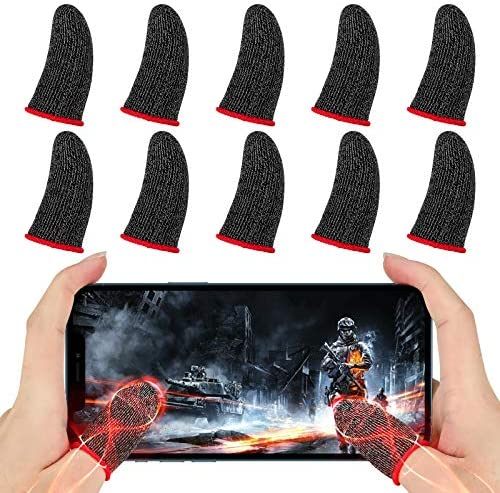 Newseego Finger Sleeve Sets for Gaming Mobile Game Controller Thumb Sleeves [10 Pack], Anti-Sweat Breathable Touchscreen Sensitive Aim Joysticks Finger Set for Rules of Survival/Knives Out