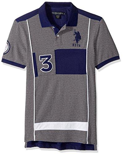 U.S. Polo Assn. Mens Slim Fit Color Block Short Sleeve Pique Polo Shirt