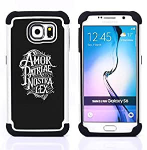 - AMOR PATRIAE NOSTRA LEX PATRIOTIC TEXT - - Doble capa caja de la armadura Defender FOR Samsung Galaxy S6 G9200 RetroCandy