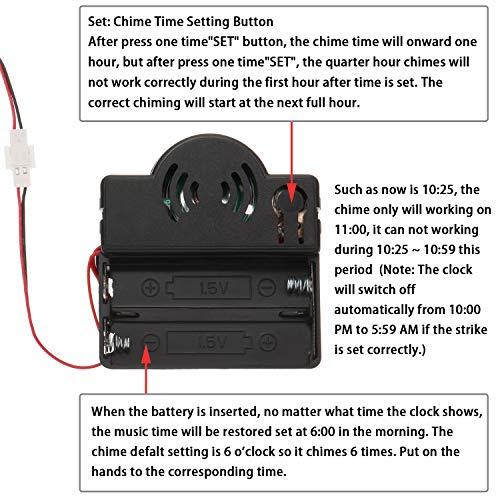 Hicarer Quartz Pendulum Trigger Clock Movement Chime Music Box Completer Pendulum Clock Kit with 3 Pairs of Spades, Fancy, Straight Clock Hands