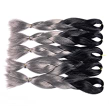 "Silike Ombre Jumbo Braiding Hair (black dark grey) Afro Braiding Hair Extensions 2 Tone Colors 24"" (5 Pieces)"