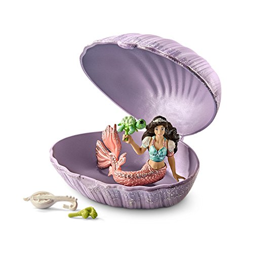 Schleich Mermaid with Baby Turtle in Shell Play Set, (Mermaid Shell)