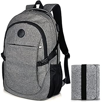 """Laptop School Backpacks 15.6"""" College Business Travel Backpack with Felt Pouch Bag by EASTERN TIME"""