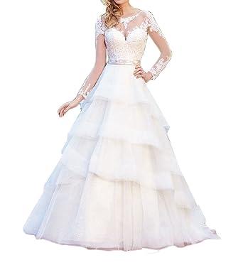 Amazon.com: Jdress Elegant Lace Wedding Dresses 2017 Long Sleeves ...