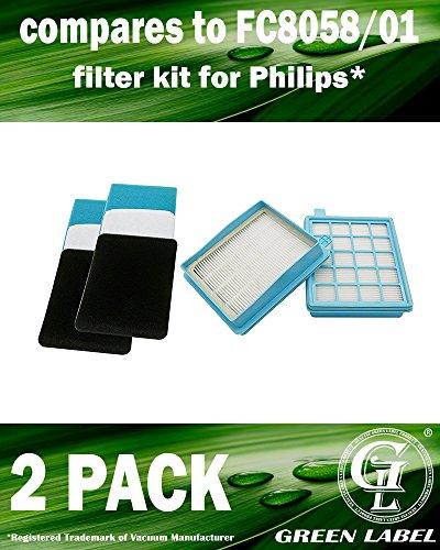 Lot de 2 : Kit de filtres pour les aspirateurs Philips PowerPro Active et PowerPro Compact (alternative à FC8058/01). Produit Green Label authentique