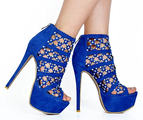 YCMDM Women's Stiletto Heel Sandals Scrub Rhinestones high quality leather Nightclub Party Evening Fashion Shoes , 45 , blue