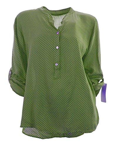 Italy Moda - Camisas - Asimétrico - Lunares - mao - Manga Larga - para mujer Verde