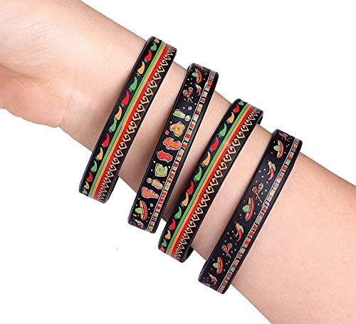 12Ct Fiesta Rubber Bracelets - Cinco De Mayo Party Favors Mexican Silicone Writbands Supplies Decorations