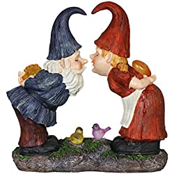 "Exhart Kissing Gnomes Couple Garden Statue, Solar Powered, Resin, 15"" L x 7"" W x 14"" H"