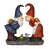 Exhart Kissing Gnomes Couple Garden Statue, Solar Powered, Resin, 15'' L x 7'' W x 14'' H