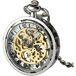 Smart.Deal Antique Open Face Silver Pocket Watch Hand Wind Skeleton Mechanical Analog Unisex