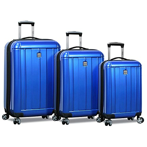 Dejuno Hard Rolling 4 Wheel Spinner Carryon Lightweight The Peony Set - 3 Piece